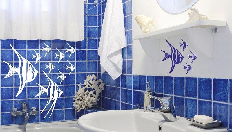 Виниловые наклейки на плитку в ванной