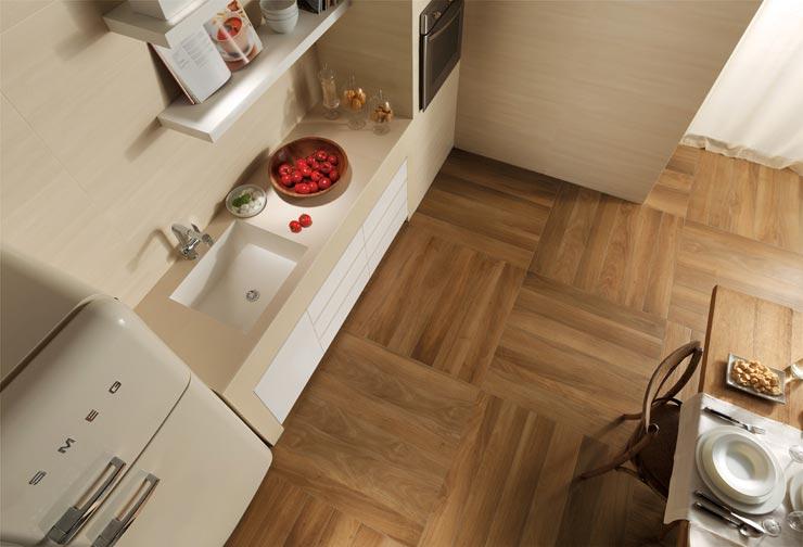Напольная плитка для кухни под дерево