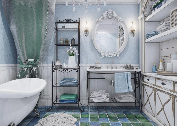 Выбор плитки для оформления интерьера ванной в стиле прованс