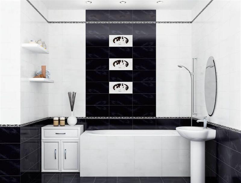 Бело-черное сочетание плиток в ванной это всегда выигрышно 2