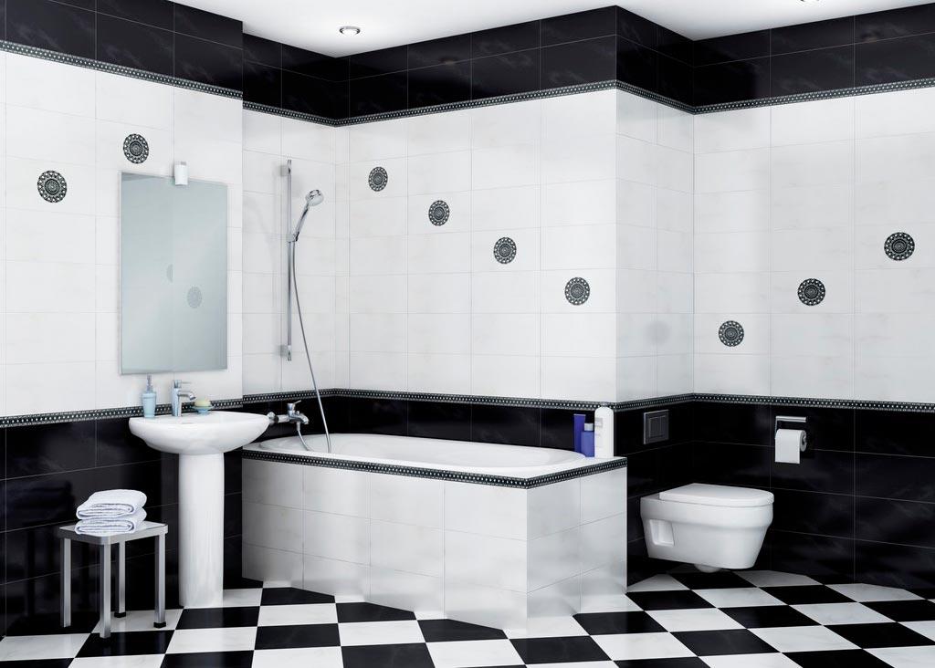 Бело-черное сочетание плиток в ванной это всегда выигрышно