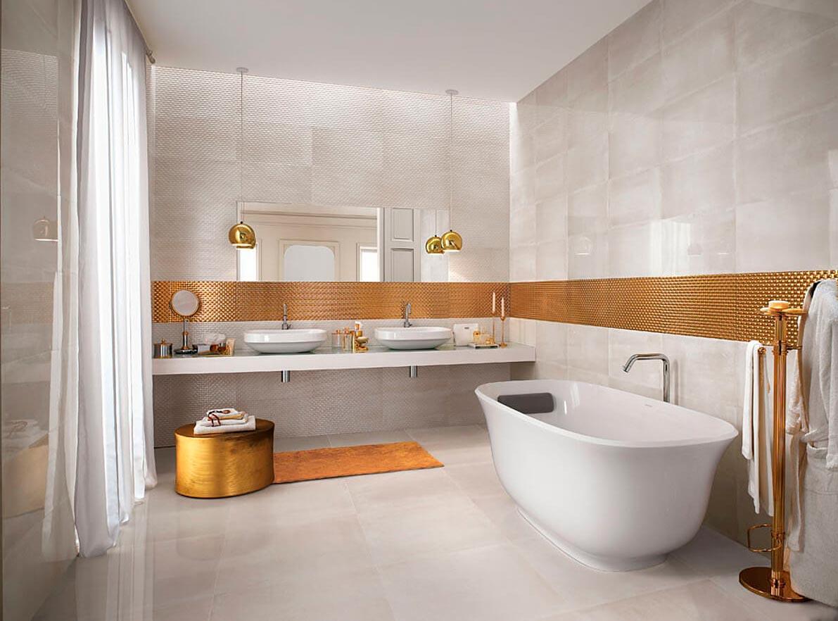 Бело-золотая плитка в ванной