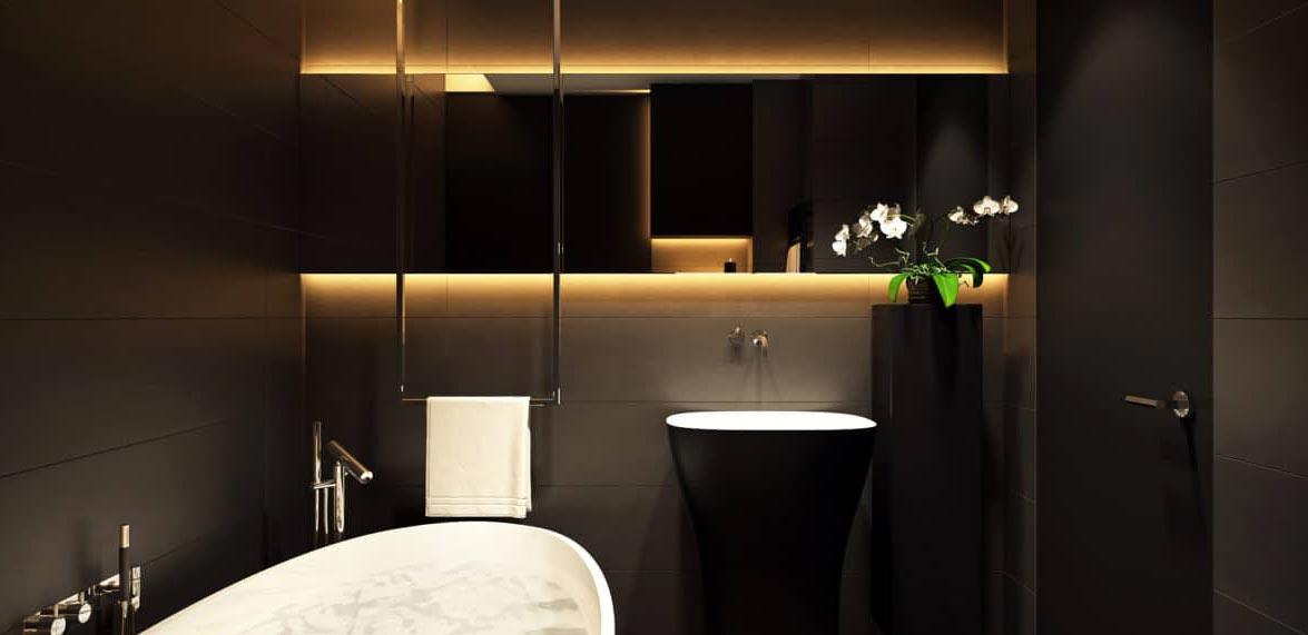 черная ванная в современном стиле