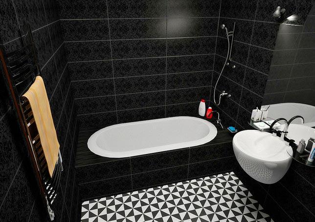 Черно-белая плитка в ванной 3