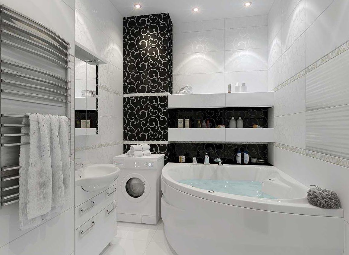 черно-белая ванная комната дизайн