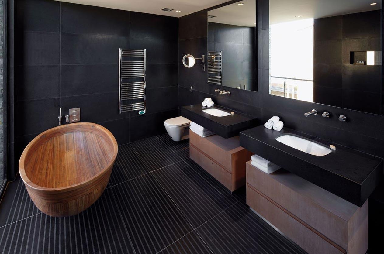 черный тон в ванной-современный стиль