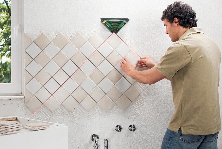укладка плитки в ванной по диагонали