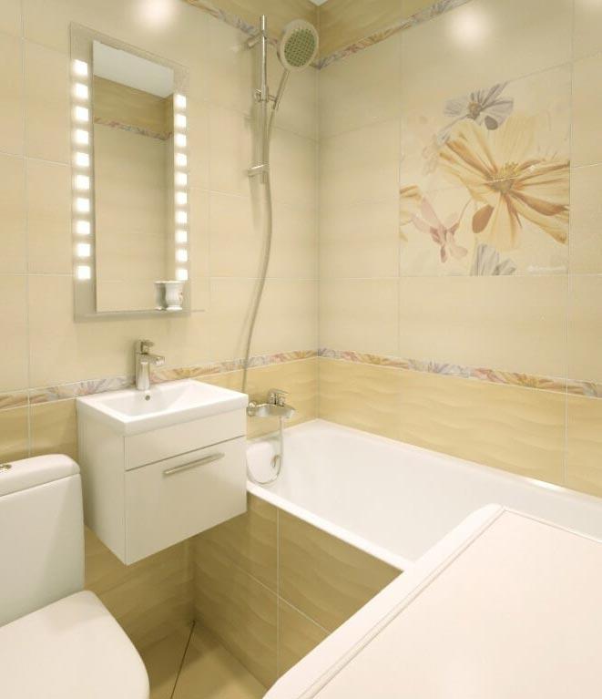 дизайн плитки в маленькой ванной 1