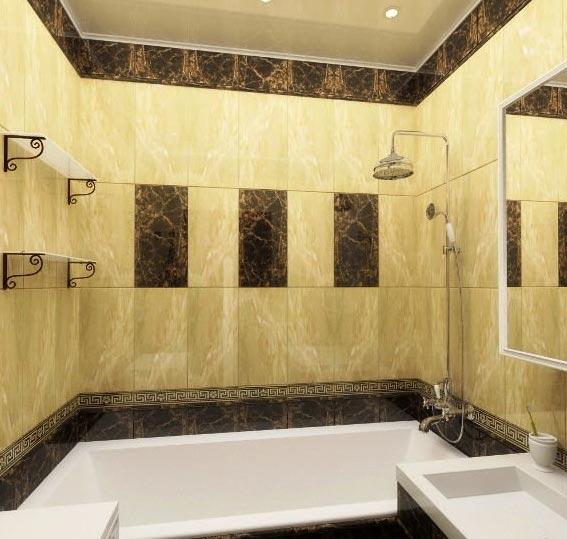 дизайн плитки в маленькой ванной 11