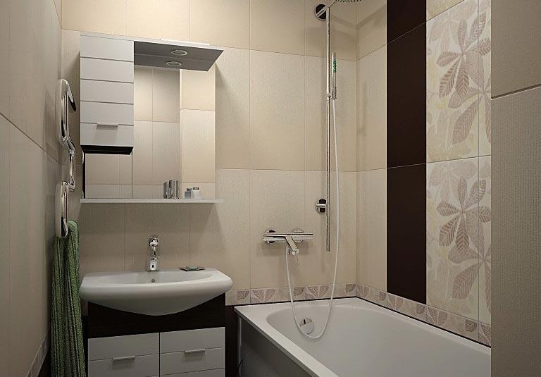 дизайн плитки в маленькой ванной 5