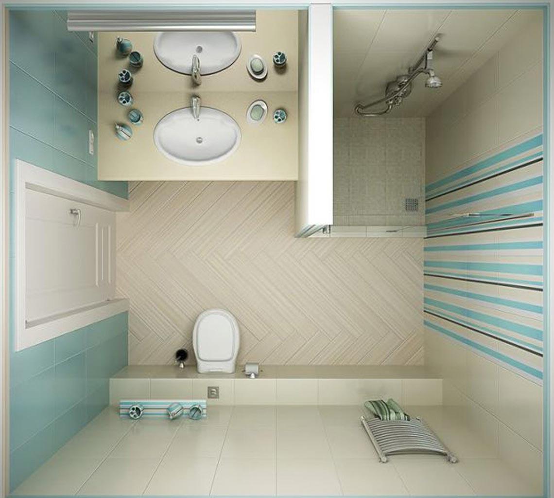 дизайн плитки в маленькой ванной 7
