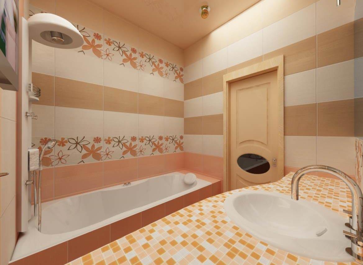 дизайн плитки в маленькой ванной 9