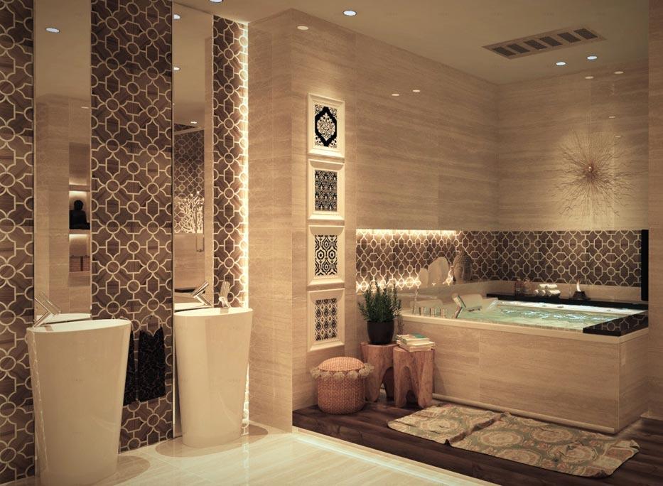 дизайн плитки в ванной-современный стиль