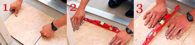 этапы укладки плиты на пол в ванной