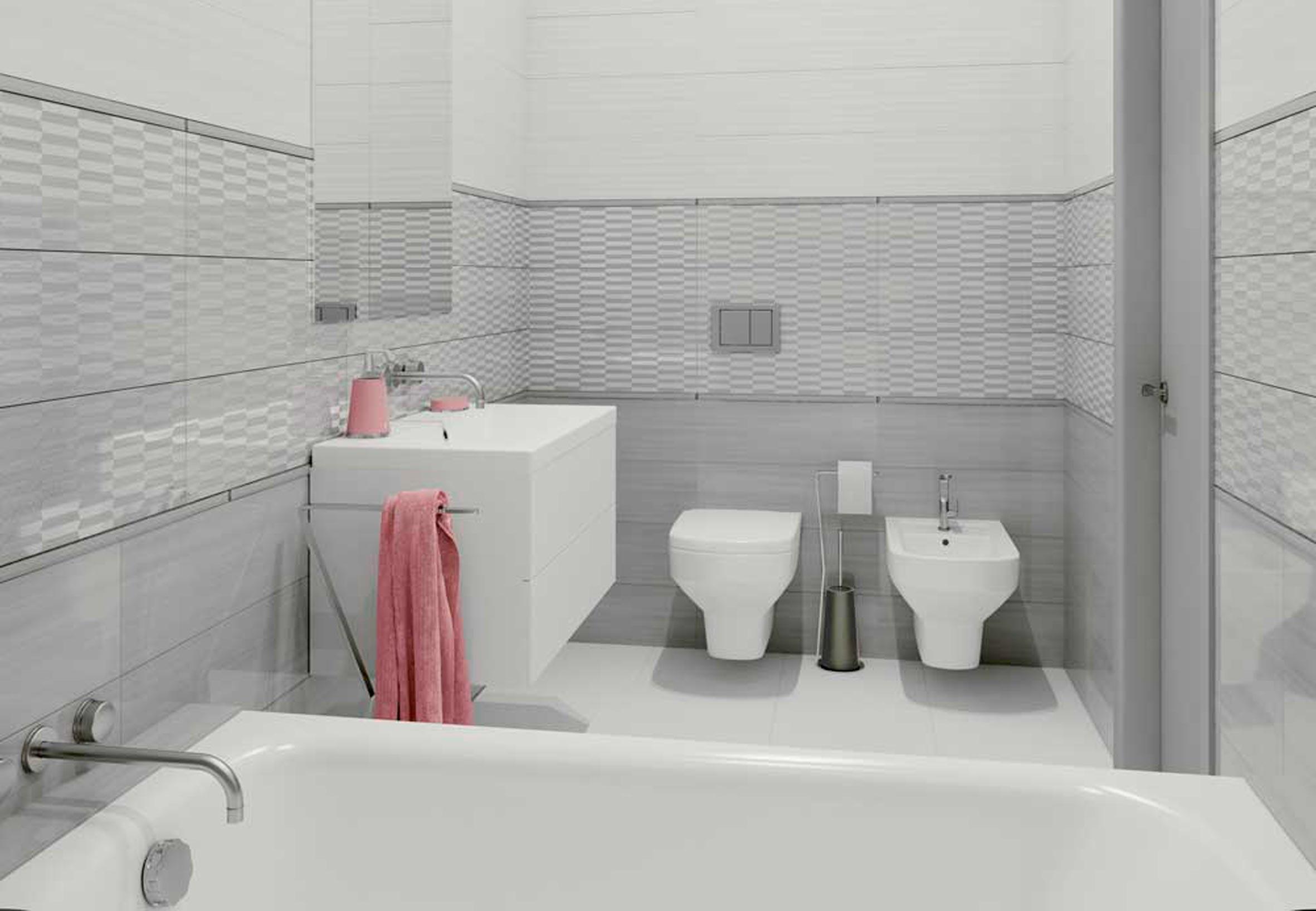 Фактура материала и освещение белая плитка в ванной 3