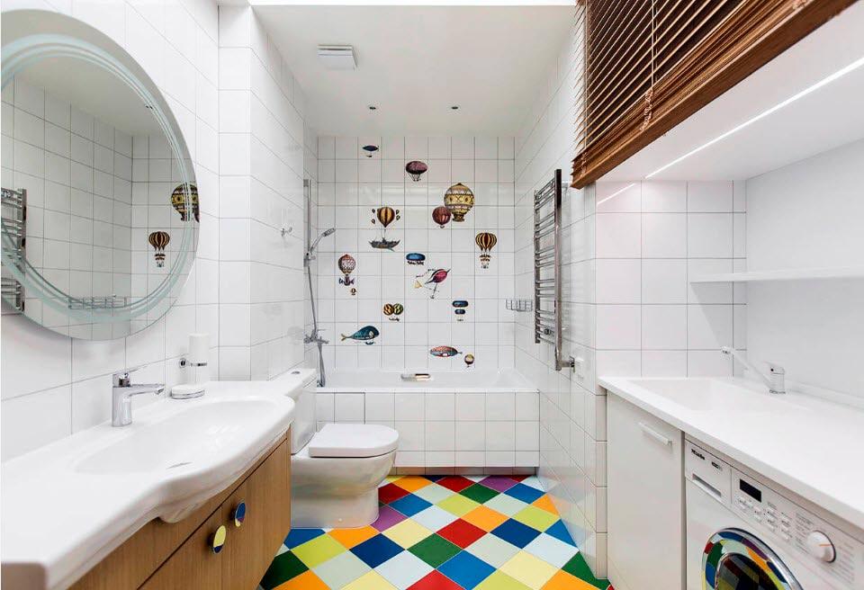 Фактура материала и освещение белая плитка в ванной 4