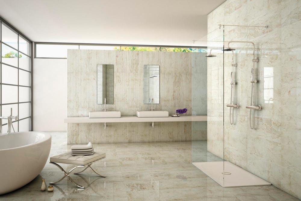 Главные преимущества плитки под мрамор в ванной 2