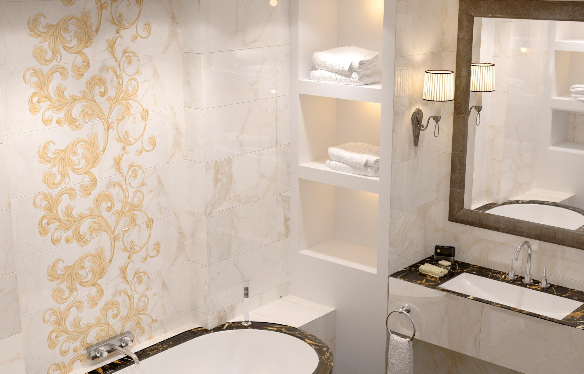 Главные преимущества плитки под мрамор в ванной