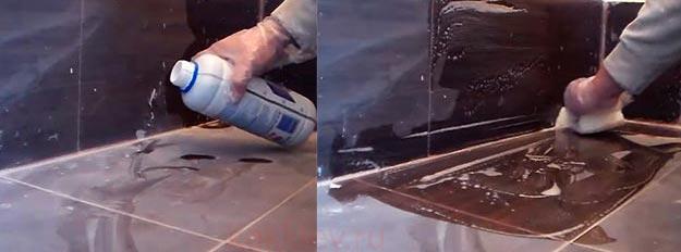 чистка плиты от клея с помощью химических средств