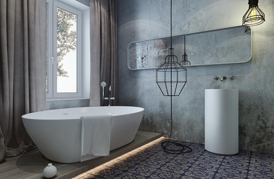 интерьер ванной комнаты лофт-варианты