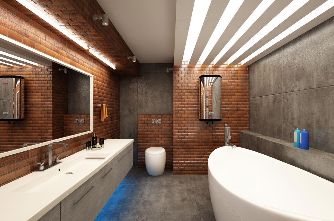интерьер ванной комнаты лофт