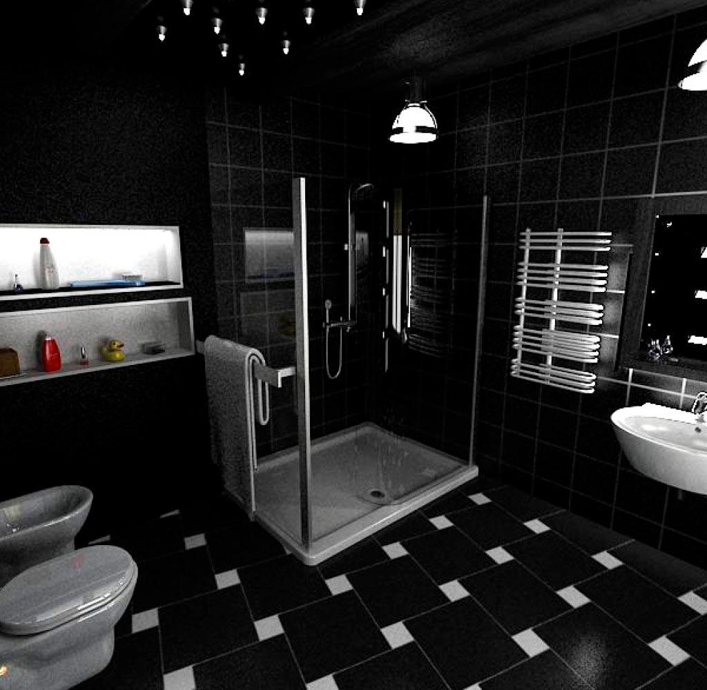 Использовать непропорционально черных и белых плиток в ванной 2
