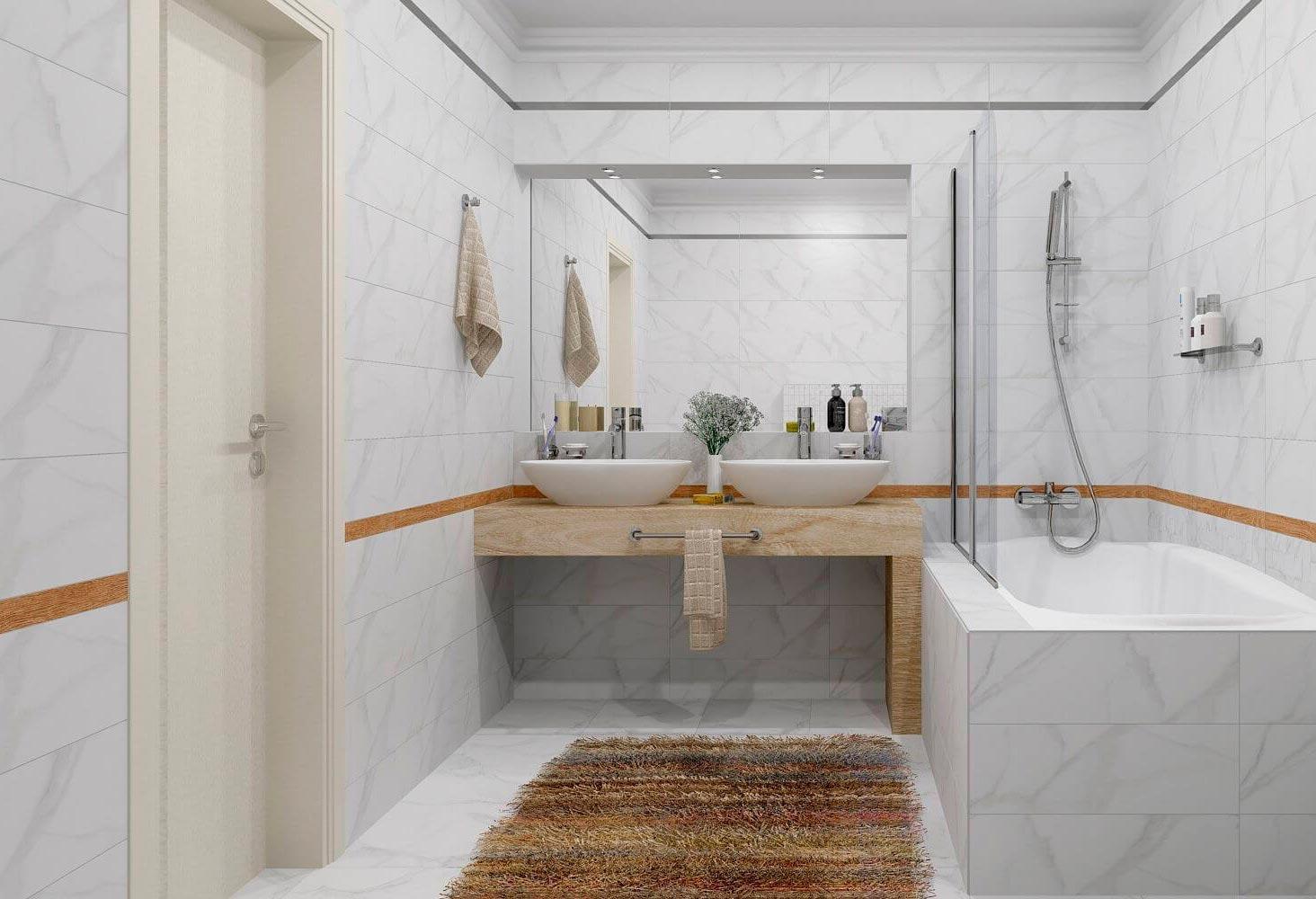 Какой цвет выбрать для плитки под мрамор в ванной 2