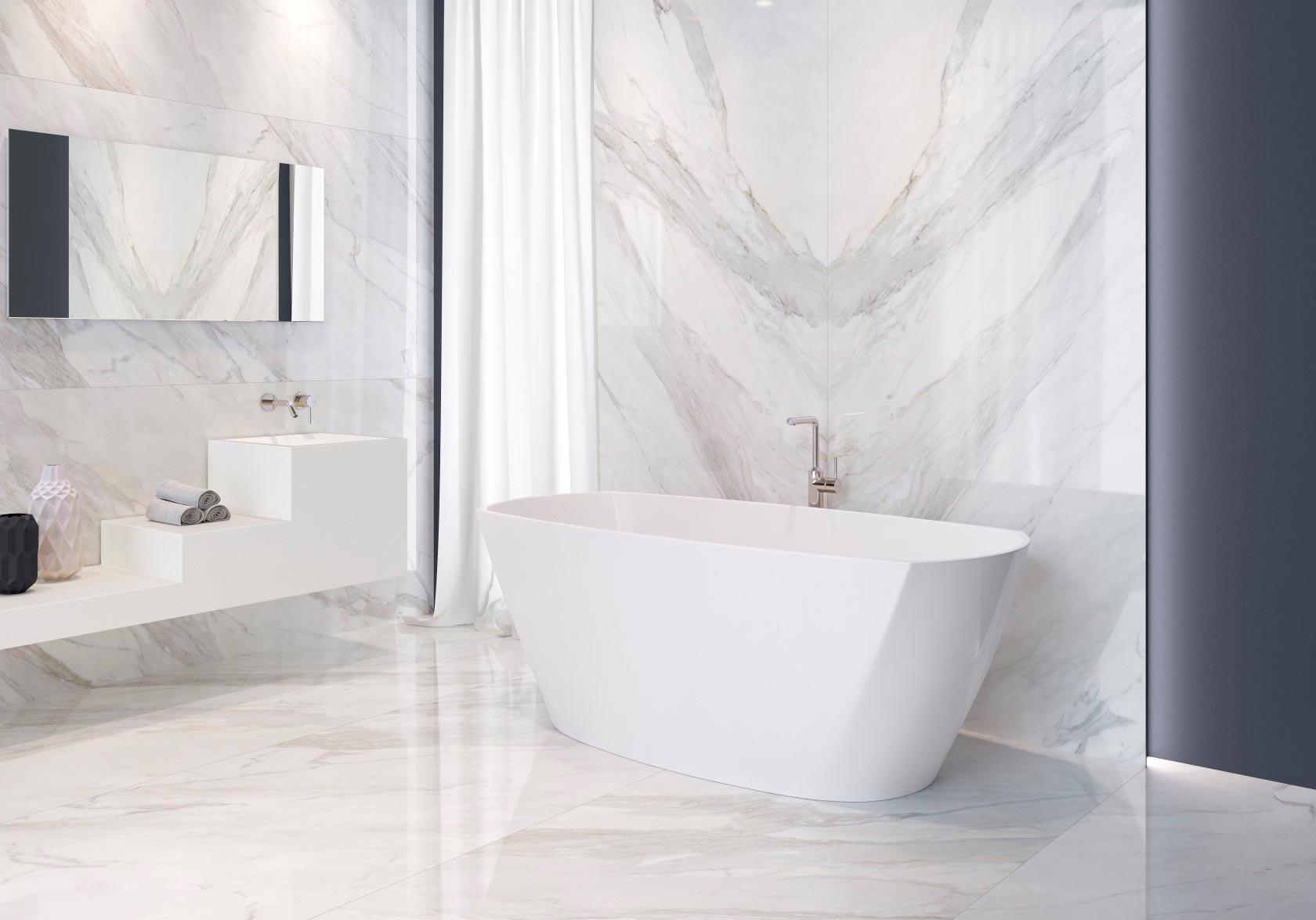 Какой цвет выбрать для плитки под мрамор в ванной 4