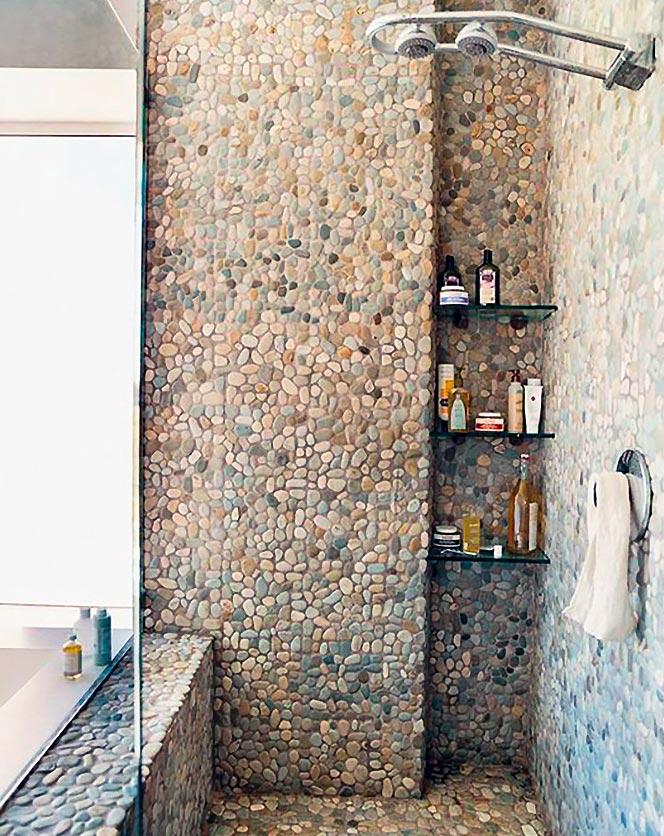 каменно-галечная мозаика для ванной