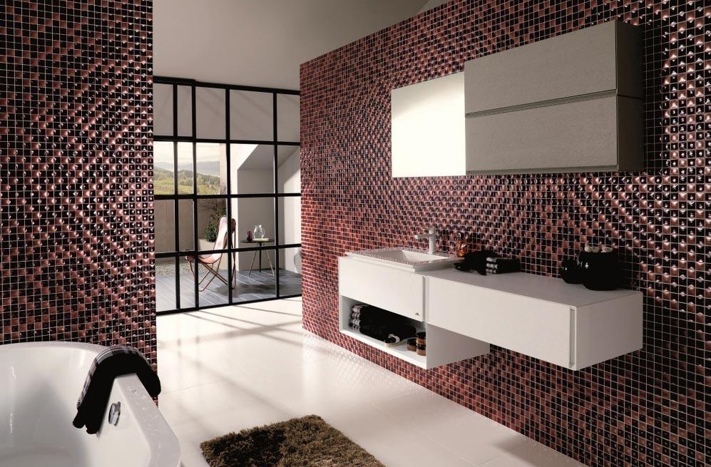 керамическая мозаика в ванной в современном стиле
