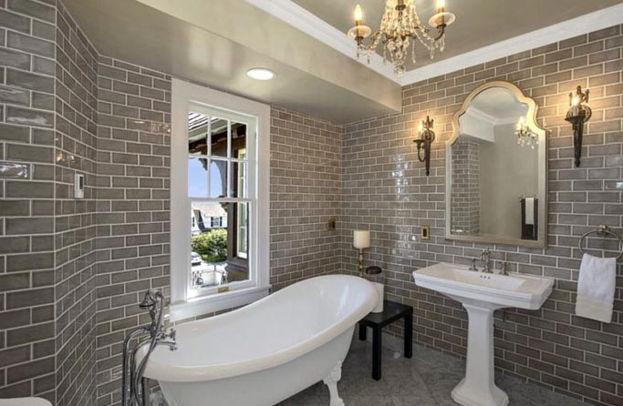 кирпичная кладка плитки в ванной