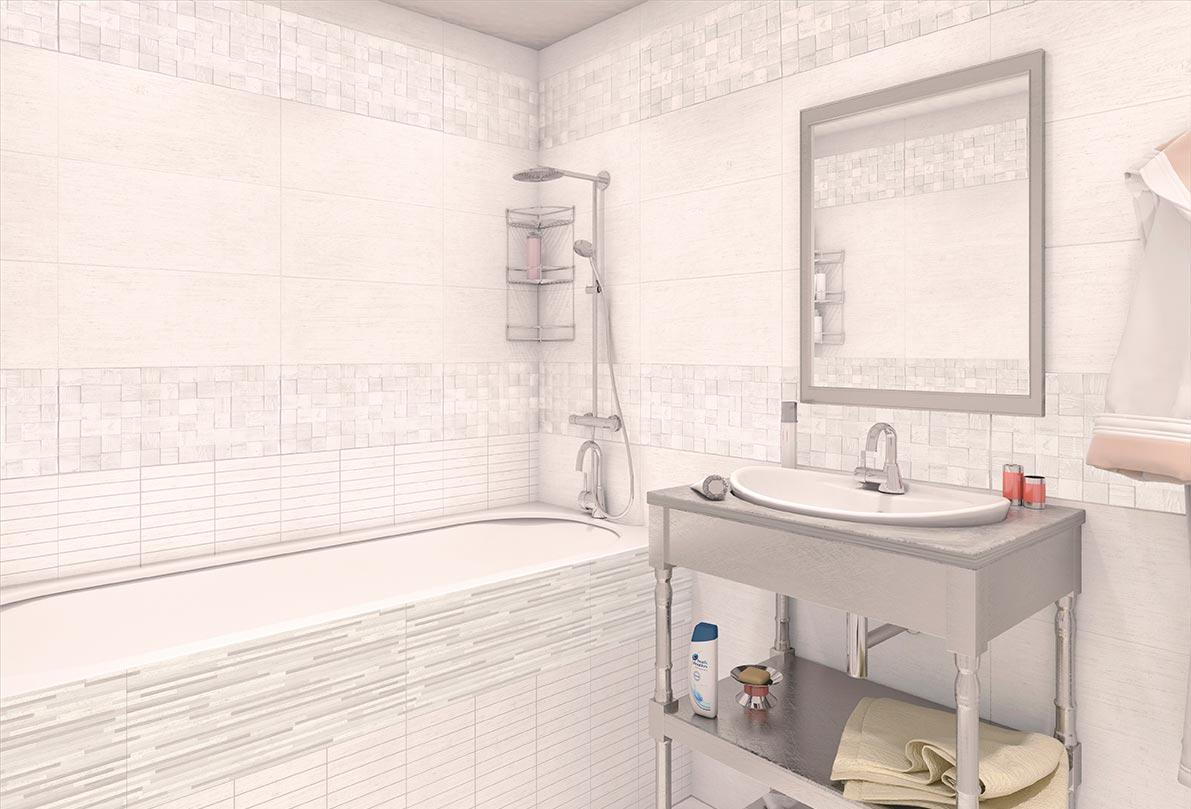 Классические сочетания белой плитки в ванной