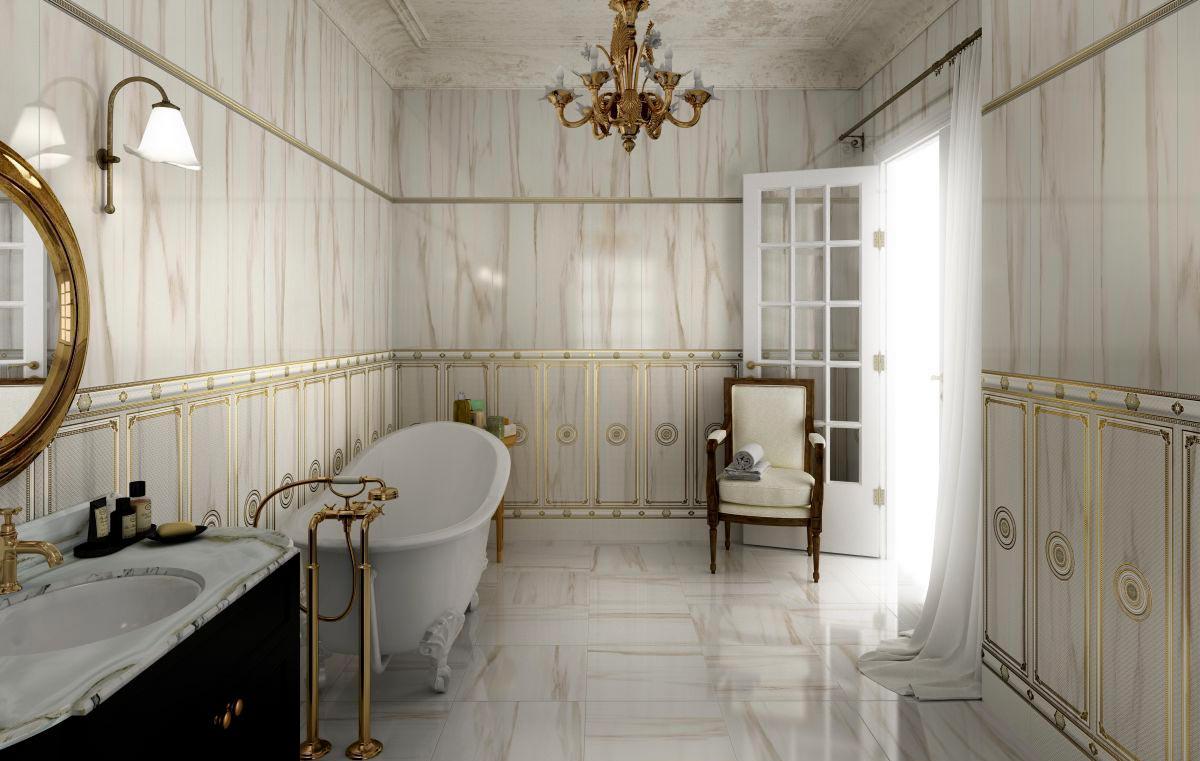 Классический стиль для ванной комнаты в мраморе