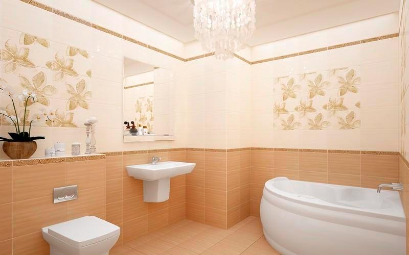 Классическое сочетание белой и бежевой плиток в ванной 2