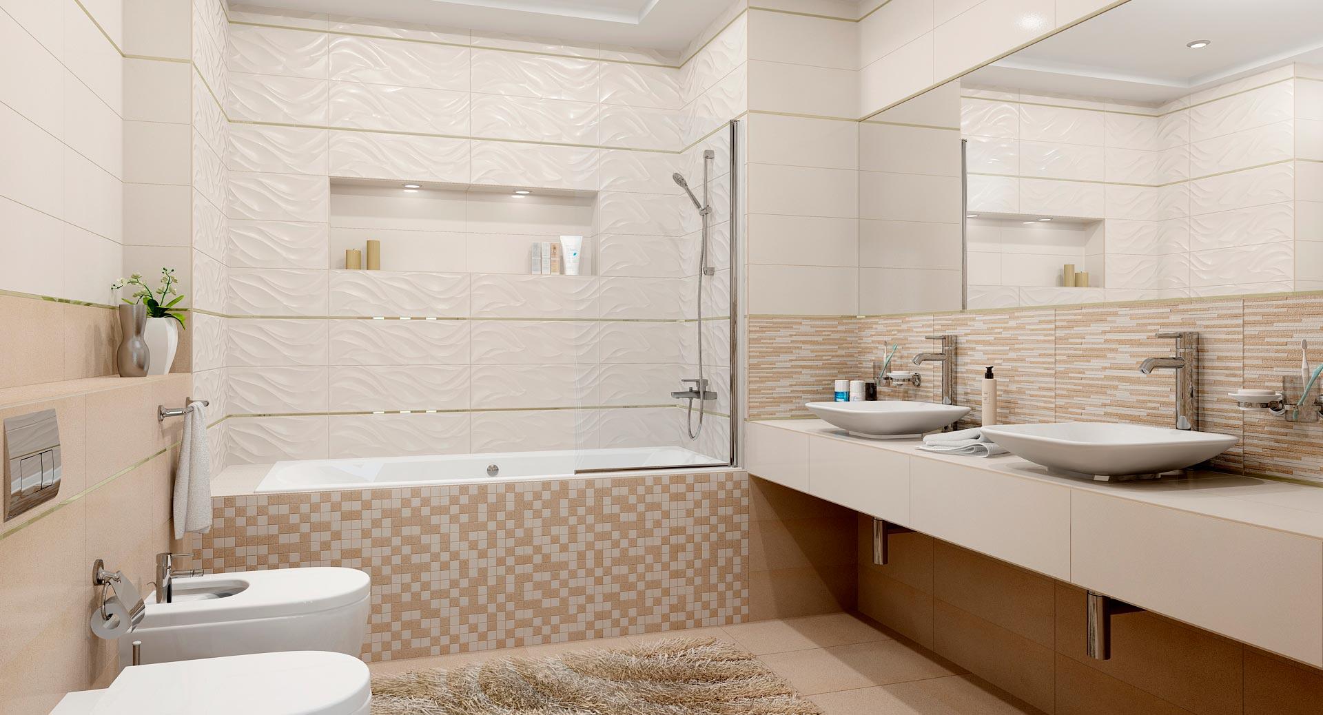 Классическое сочетание белой и бежевой плиток в ванной
