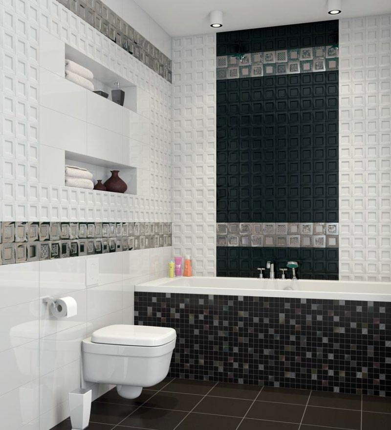 Классическое сочетание белой и черной плиток в ванной