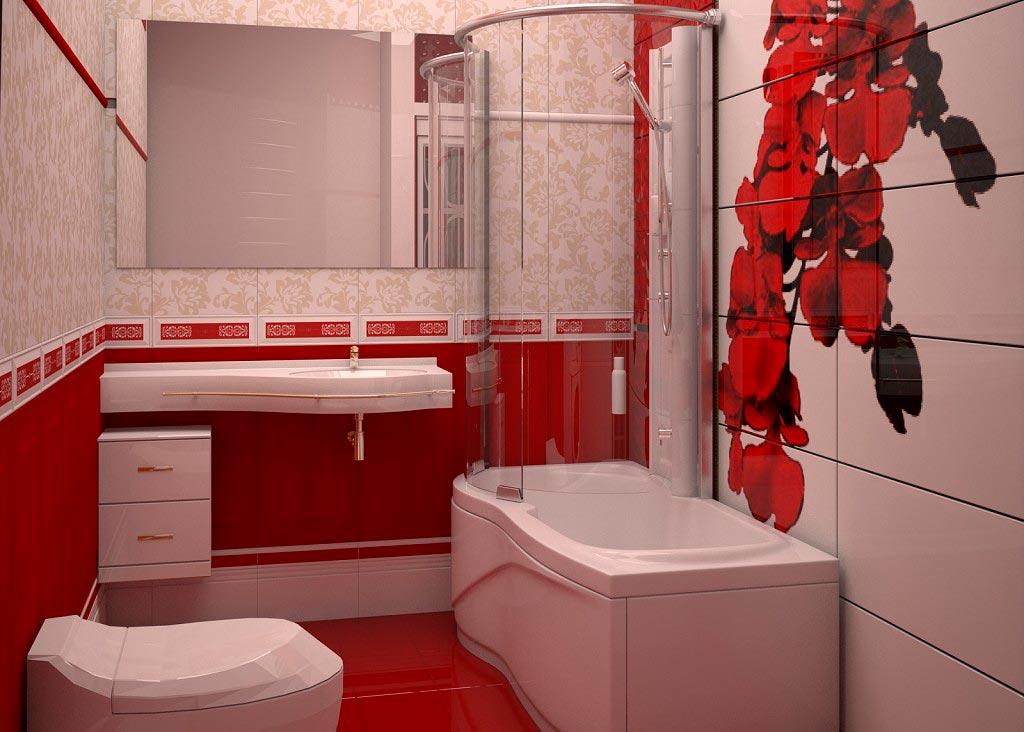 Классическое сочетание белой и красной плиток в ванной 2