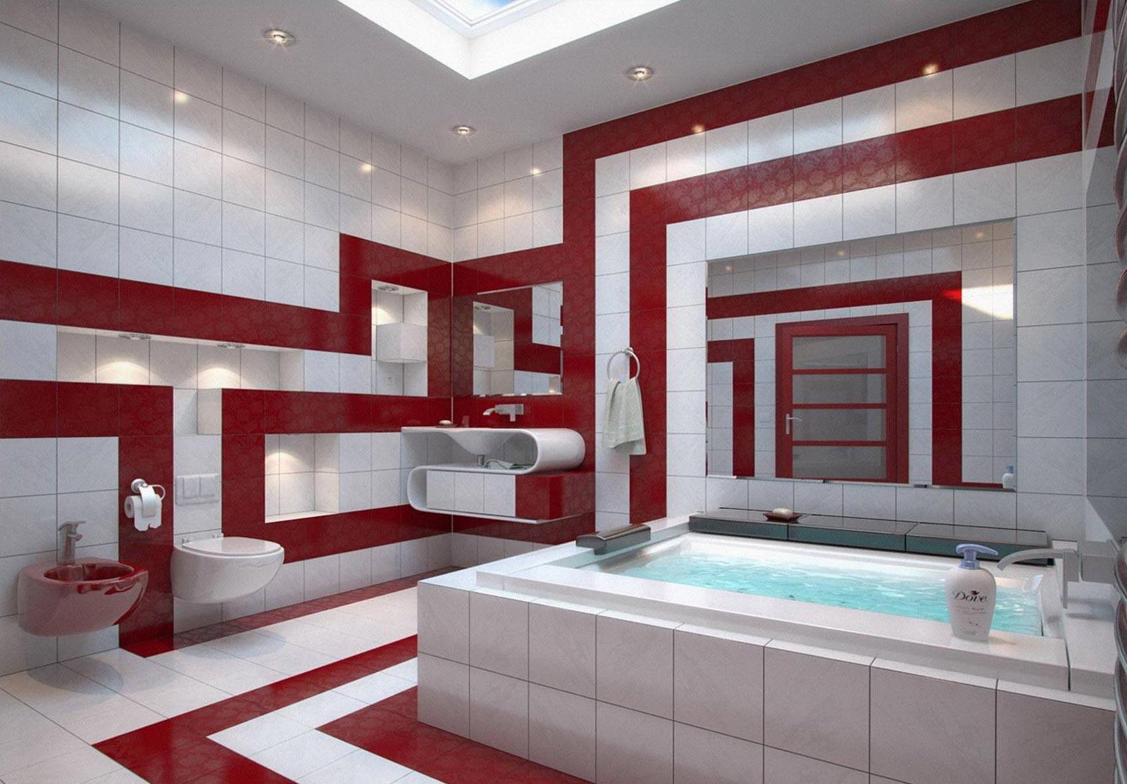 Классическое сочетание белой и красной плиток в ванной