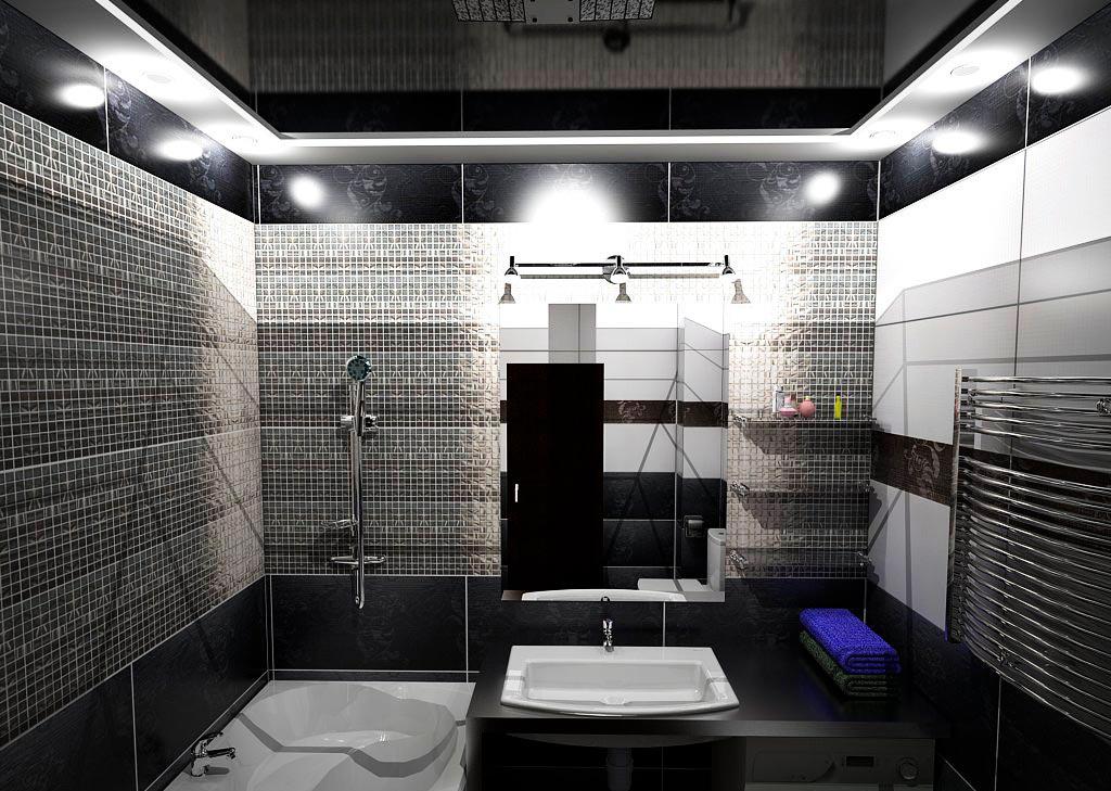 Классическое сочетание белой и темной плиток в ванной
