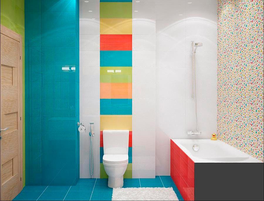 Классическое сочетание белой и яркой плиток в ванной 2