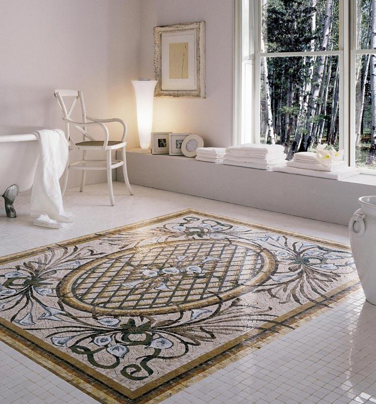 ковер из мозаики в ванной
