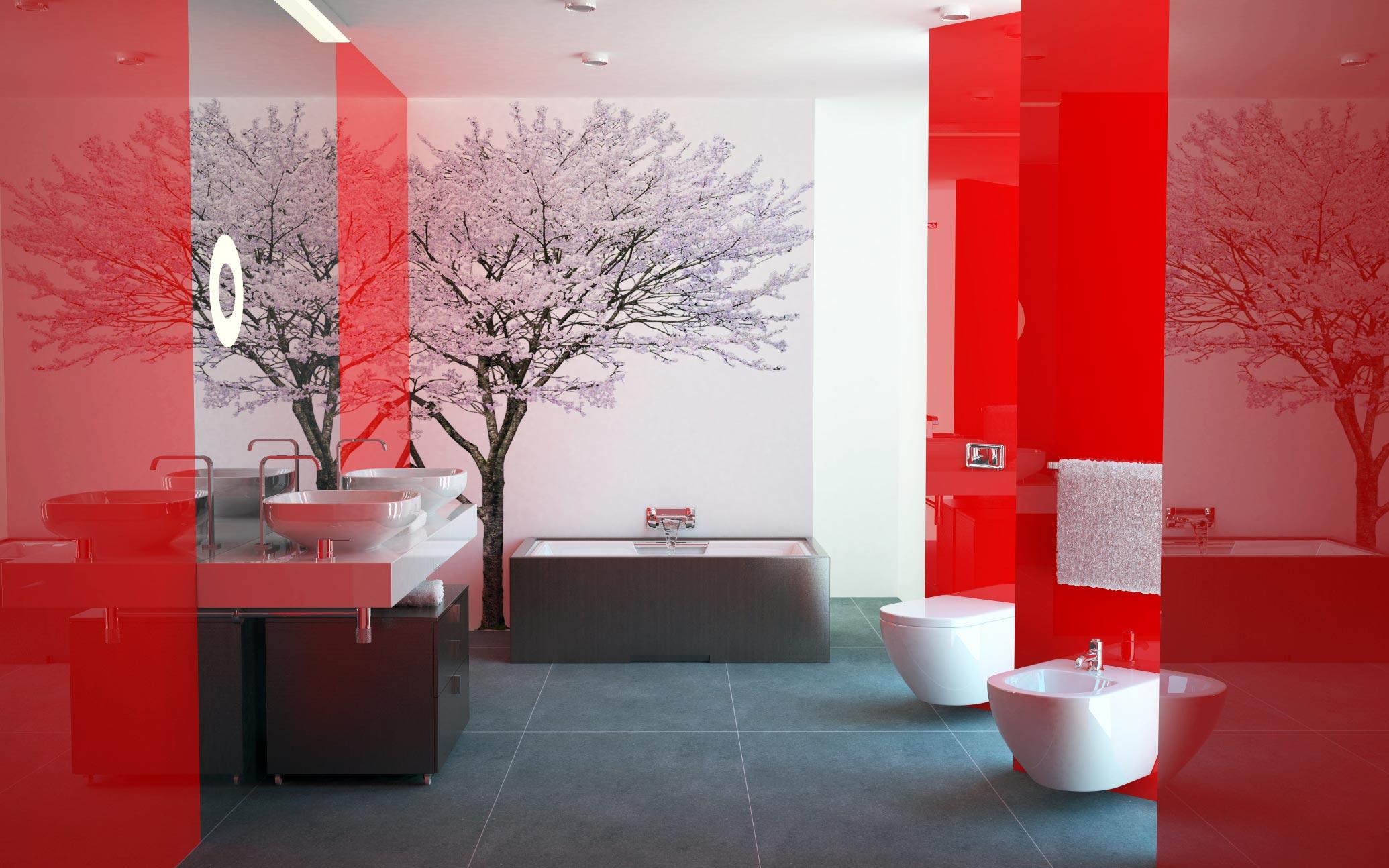 красная ванная в современном стиле-дизайн