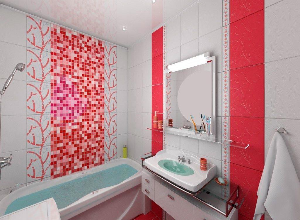 Красно-белая плитка в ванной