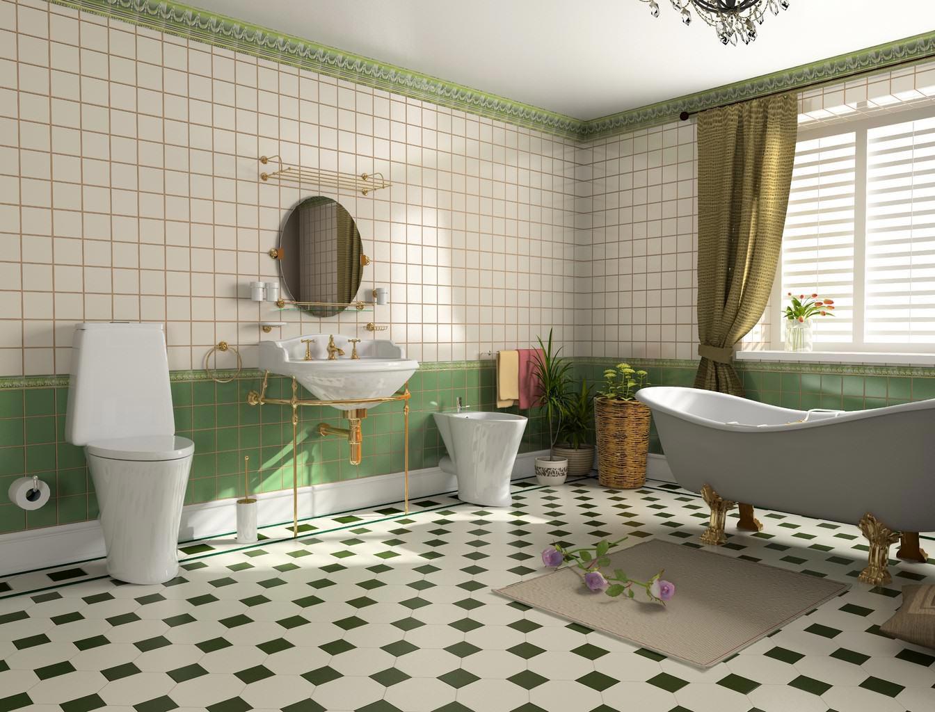 квадратная плитка для ванной-современный дизайн