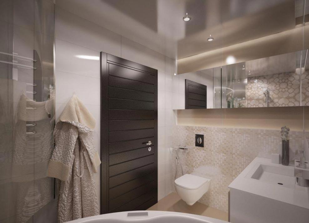 маленькая ванная комната в пастельных тонах