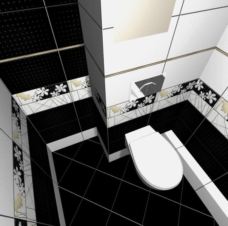модульная укладка плитки в маленькой ванной