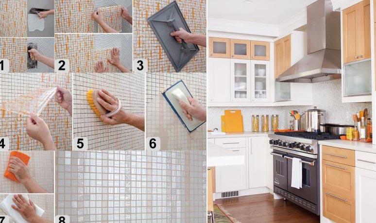 мозаика на кухне этапы