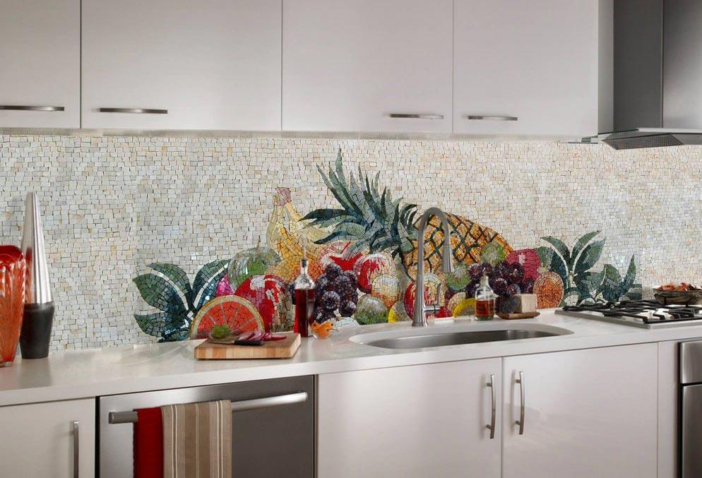 мозаика на кухне фартук