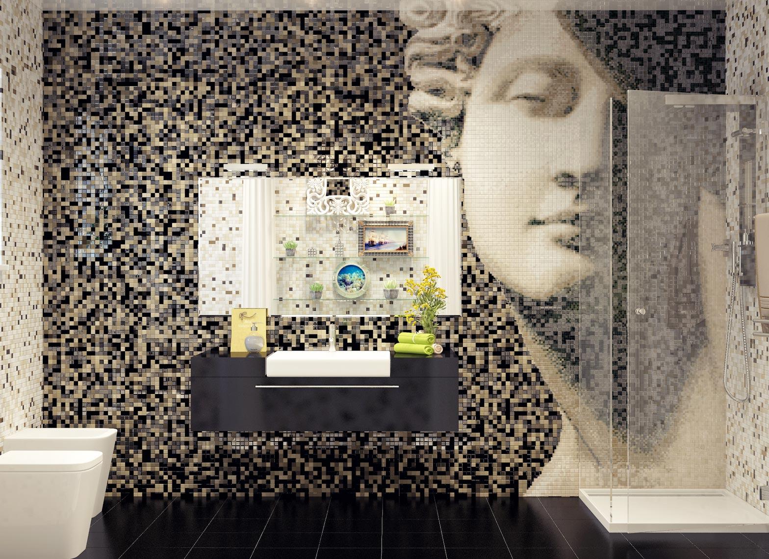 мозаика в ванной на стене