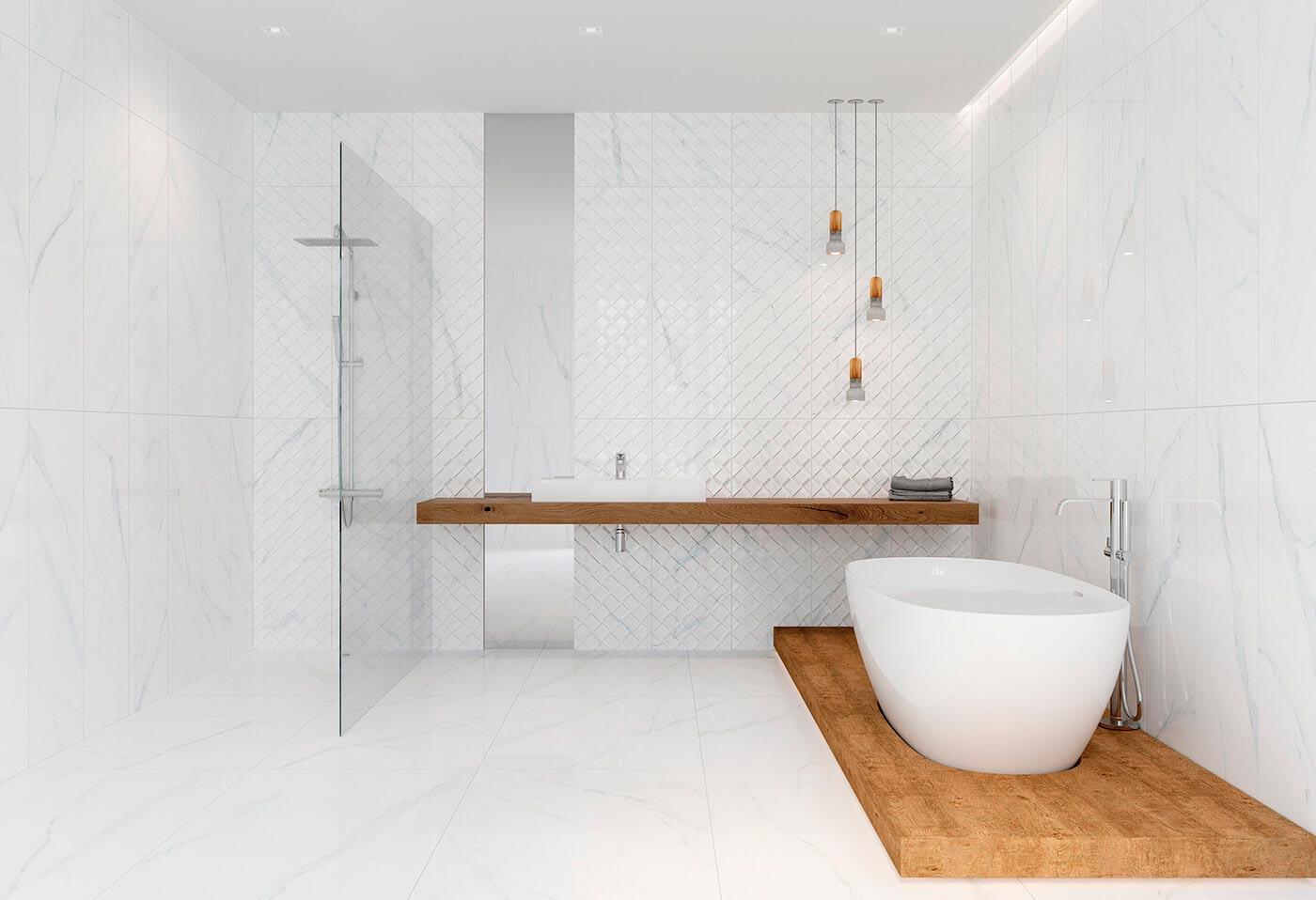 Особый уход за плиткой под мрамор в ванной 4